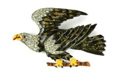 Enamel Pave Crystal Rhinestone Eagle on Branch 1930's Brooch