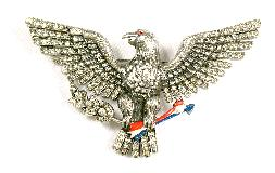 pave rhinestone enameled eagle with arrows and branches