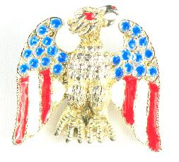 Pot metal enameled eagle pin