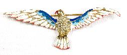 Red, white and blue enameled eagle pin