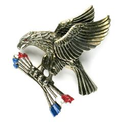 Majestic Eagle with Red, White and Blue Arrows Brooch