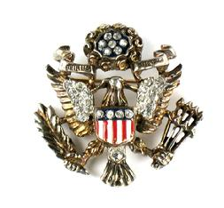 Trifari Sterling Silver Enamel Great Seal Eagle Pin