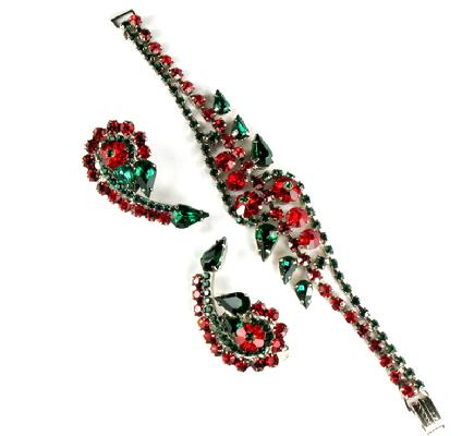 DeLizza and Elster Juliana Green and Red Rhinestone Bracelet and Earrings