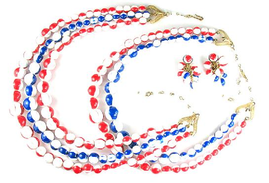 Florenza Red White Blue Beads